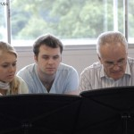 2.Laura Jane Bowler, and Chris Williams with Sir Peter Maxwell Davies at the Dartington International Summer School 2008
